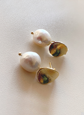 Natural pearl coin earring