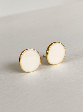 Mini button coin earring